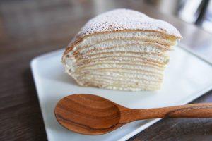 Mango crepe cake slice mango crepe cake